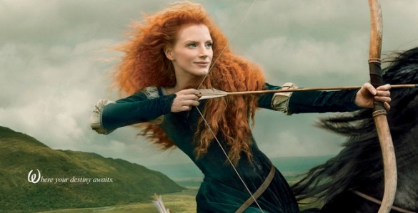 Jessica Chastain posing as Merida, from Brave...